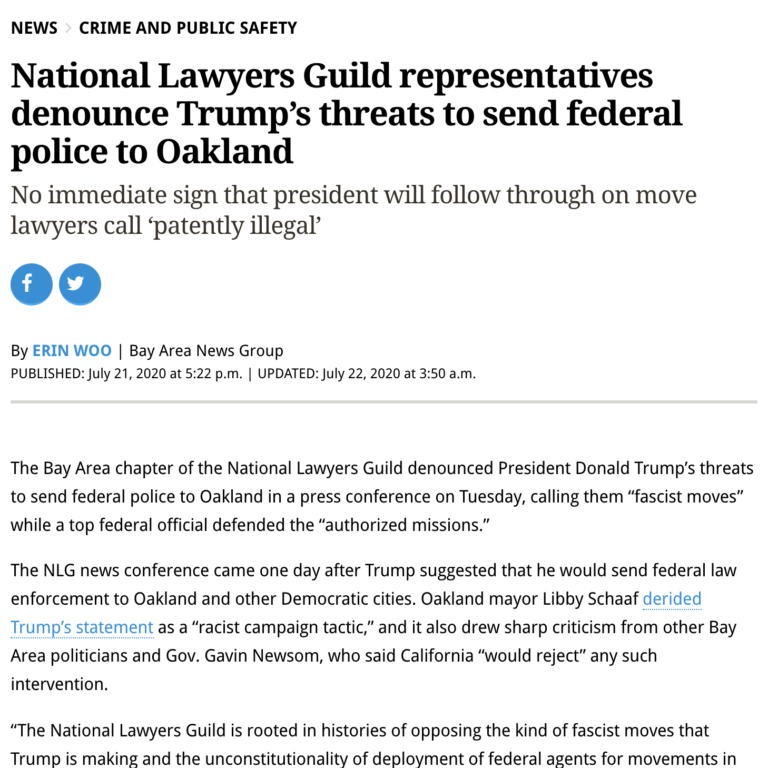 National Lawyers Guild representatives denounce Trump's threats to send federal police to Oakland