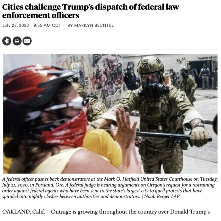 Cities challenge Trump's dispatch of federal law enforcement officers