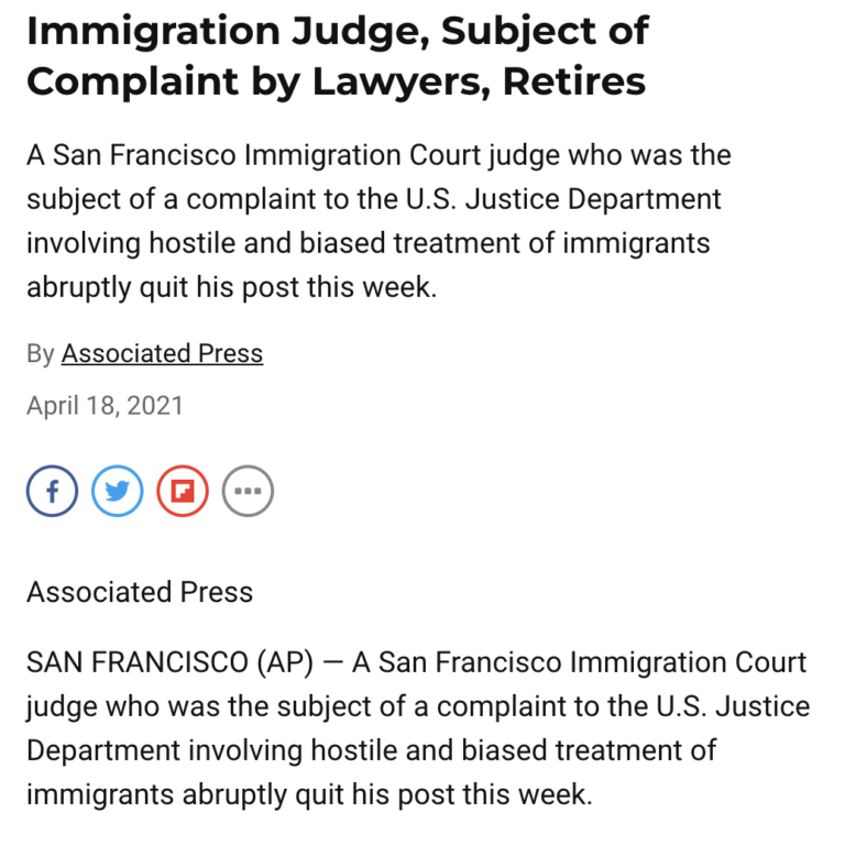 Immigration Judge, Subject of Complaint by Lawyers, Retires