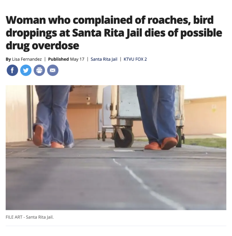 Woman who complained of roaches, bird droppings at Santa Rita Jail dies of possible drug overdose
