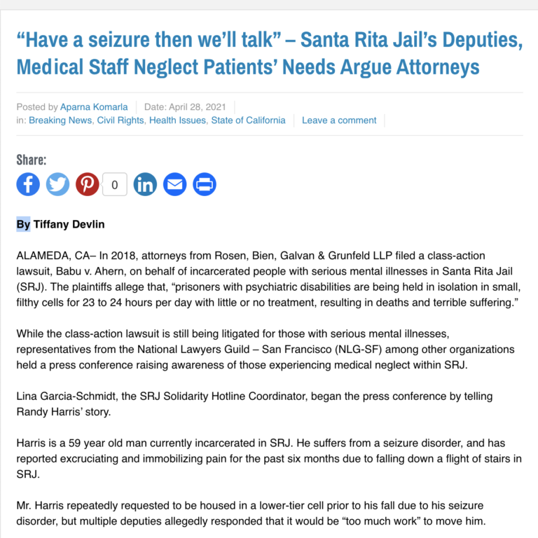 """Have a seizure then we'll talk"" – Santa Rita Jail's Deputies, Medical Staff Neglect Patients' Needs Argue Attorneys"