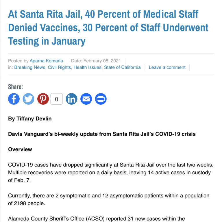 At Santa Rita Jail, 40 Percent of Medical Staff Denied Vaccines, 30 Percent of Staff Underwent Testing in January