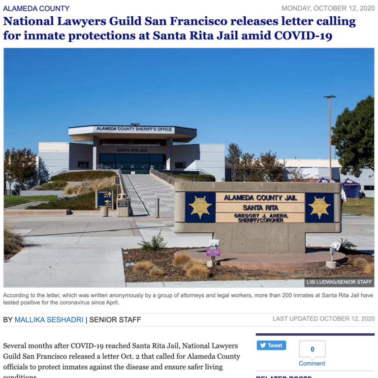 National Lawyers Guild San Francisco releases letter calling for inmate protections at Santa Rita Jail amid COVID-19