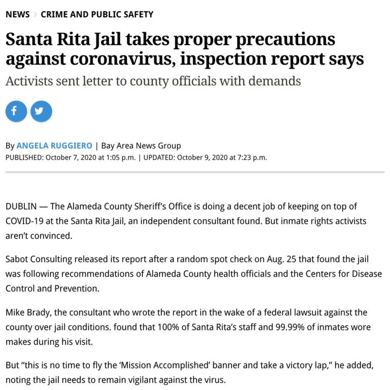 Santa Rita Jail takes proper precautions against coronavirus, inspection report says