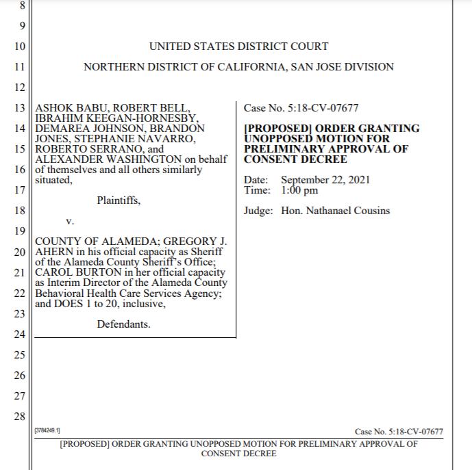 Babu v. Alameda County: Full Consent Decree